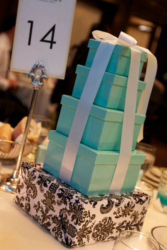 Simple Centerpieces Of Stacked Boxes Cost Efficient And Diy And Also Carried The Blue And Dama Wedding Party Centerpieces Tiffany Blue Box Simple Centerpieces