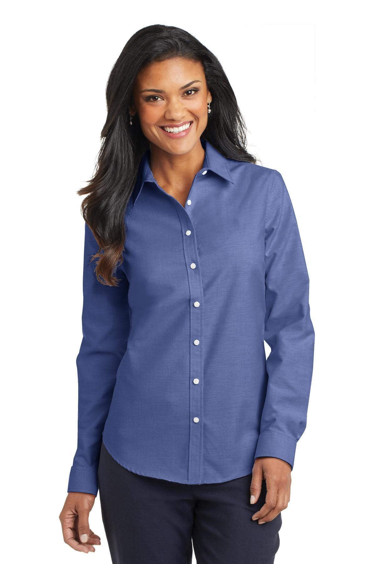 Port Authority Ladies SuperPro ™ Oxford Shirt. L658 Navy