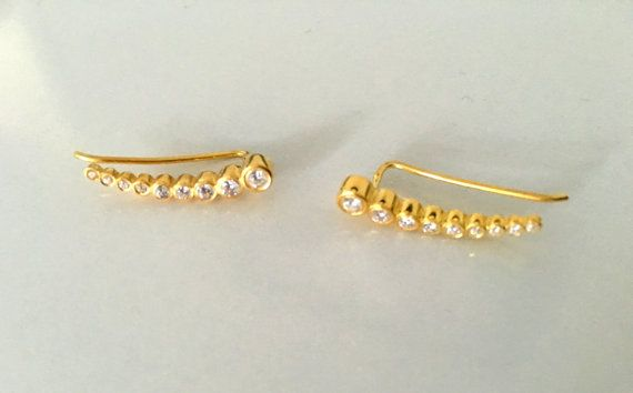 Swarovski Mini Long Strip Earrings Tiny Ear Climber Cuff