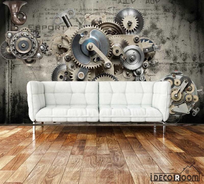 3d Black Gear On Wall Living Room Art Wall Murals Wallpaper Decals
