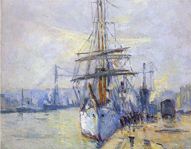 """Robert Antoine Pinchon, 1935, """"Le Pourquoi pas?"""" dans le Port de Rouen, oil on canvas, 61 x 50 cm, Musée des Beaux-Arts de Rouen.jpg"""