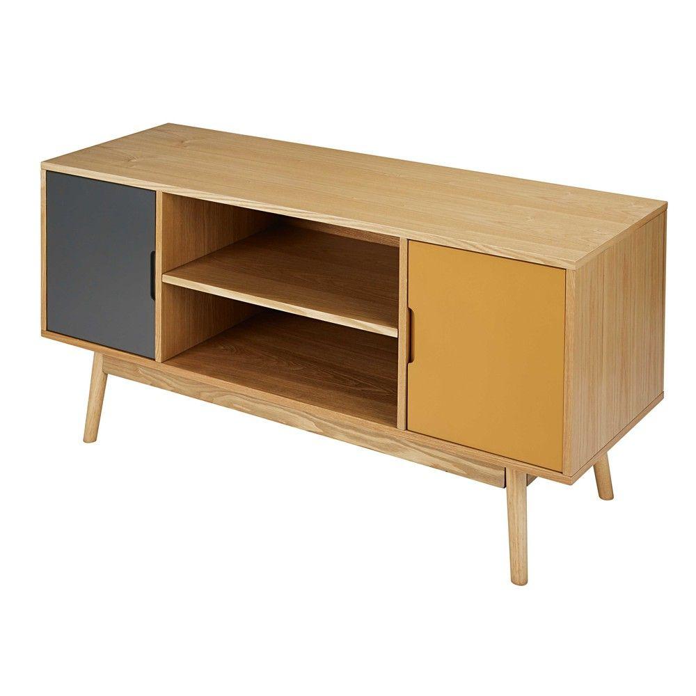 Meuble Tv Vintage 2 Portes Tricolore Meuble Tv Table Basse Et Tv # Meuble Tv Plus Table Basse