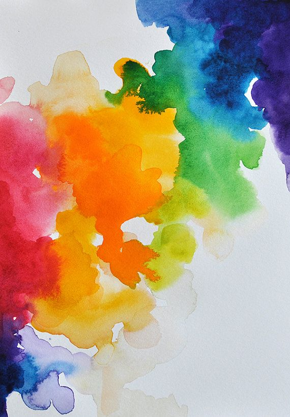 Original Watercolor Original Abstract Painting Rainbow Colored