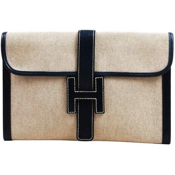 2fdbb8e6f293 Clutch Bags. Vintage Hermes Natural Navy Canvas Box Calf Leather Trim