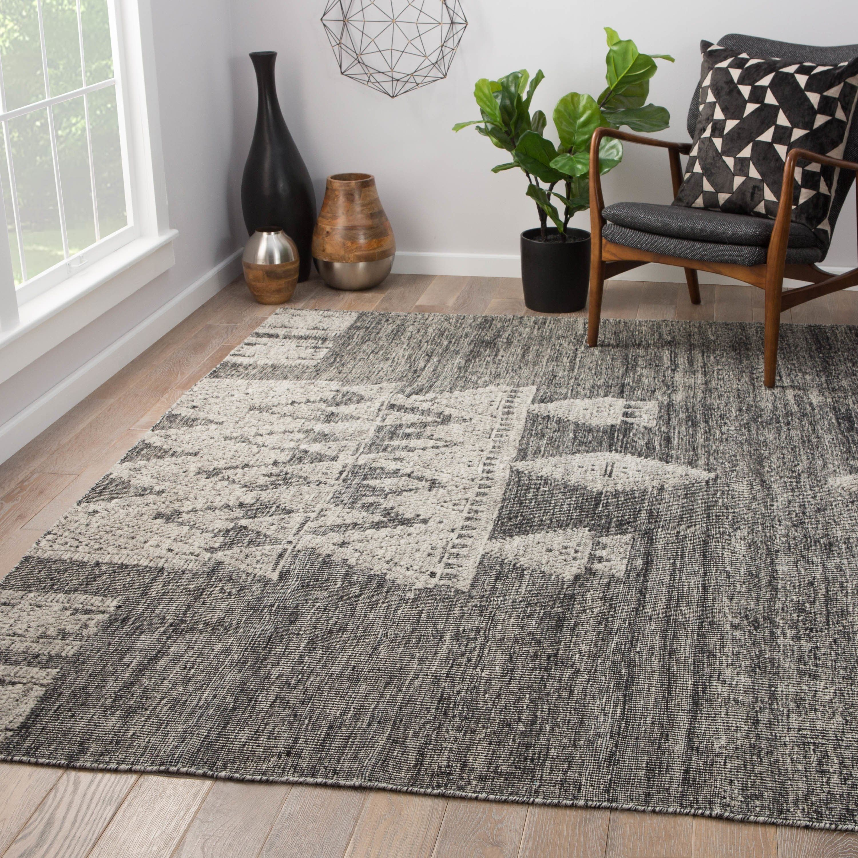 Ailana Hand Knotted Geometric Black Ivory Area Rug 9 X 12 8 10 X 11 9 Black Ivory 8 10 X 11 9 Juniper Home In 2019 Hand Knotted Rugs Rugs Area Rugs