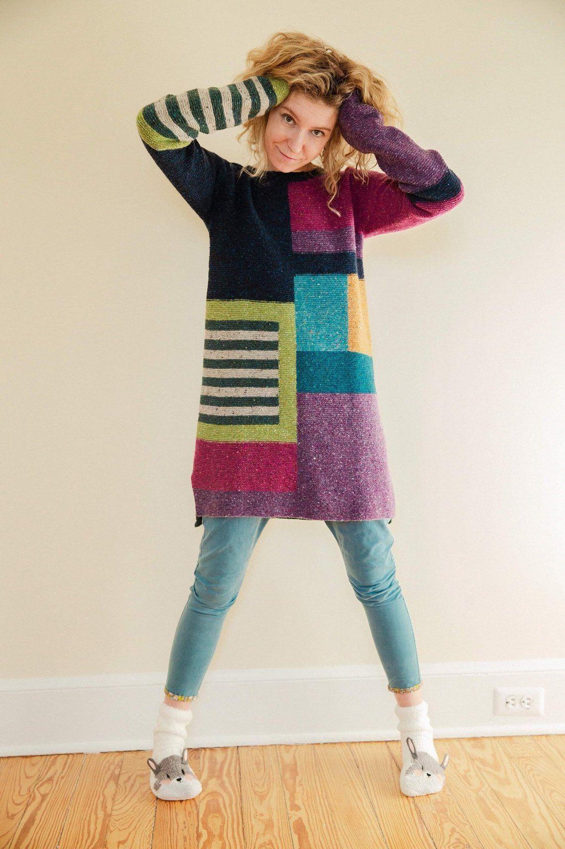 "Photo of Tweed dress ""Color Geometry""/ Colorblock dress"