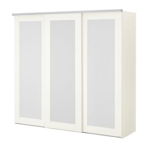 Ikea schrank weiß schiebetüren  ELGÅ Kleiderschrank mit 3 Schiebetüren - weiß/Aneboda weiß - IKEA ...