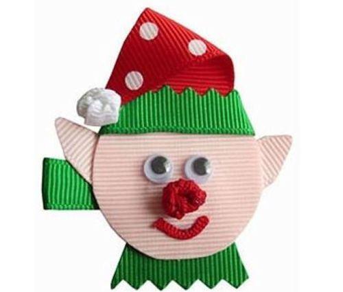Elf Red & Green Clippie Ribbon Art Clip Christmas Hair Bow CuiteBows Adorable