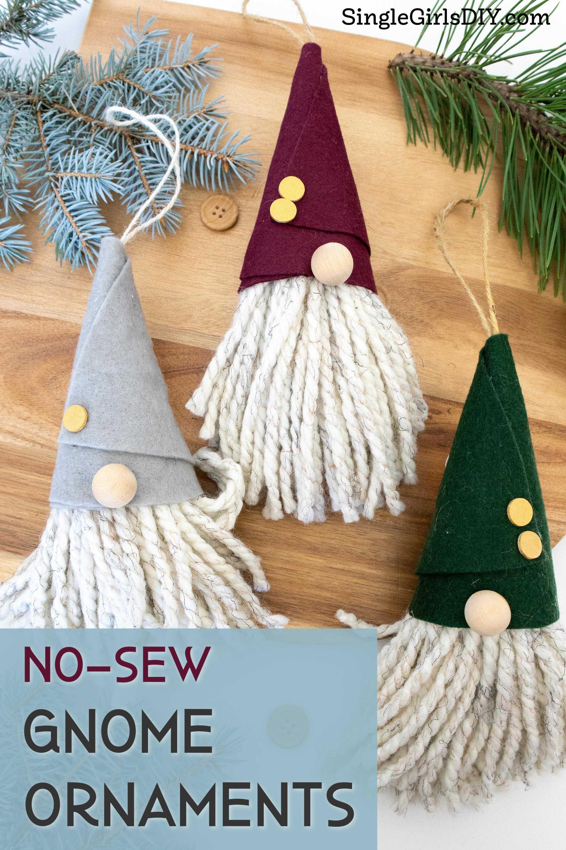 Diy No Sew Gnome Ornaments Christmas Ornaments To Make Christmas Ornament Template Diy Christmas Hats