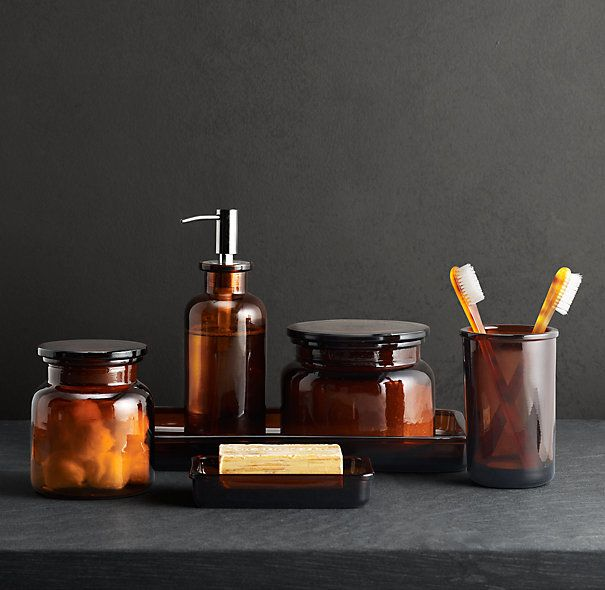 Restoration Hardware Apothecary Bottles Amber Glassware Glass
