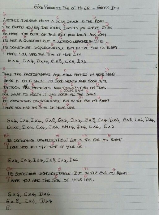 Chords Lyrics Good Riddance Time Of My Life By Green Day Music