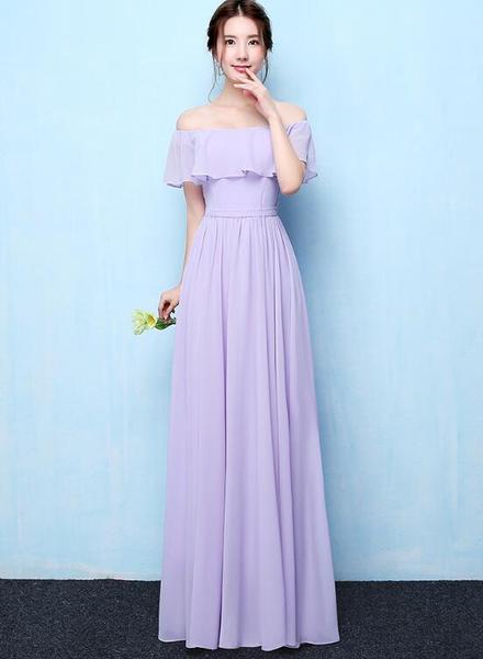 Light Purple Chiffon Off Shoulder Long Bridesmaid Dress Elegant Party Dress Light Purple Bridesmaid Dresses Purple Bridesmaid Dresses Elegant Party Dresses