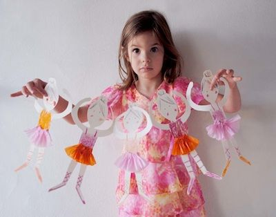 Love this tutorial of how to make paper doll ballerina chain