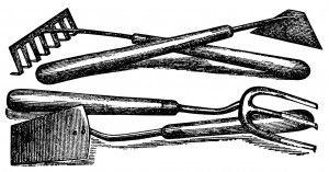 vintage garden clipart, free black and white graphics, antique garden tools, vintage magazine advertising, hoe spade fork rake illustration