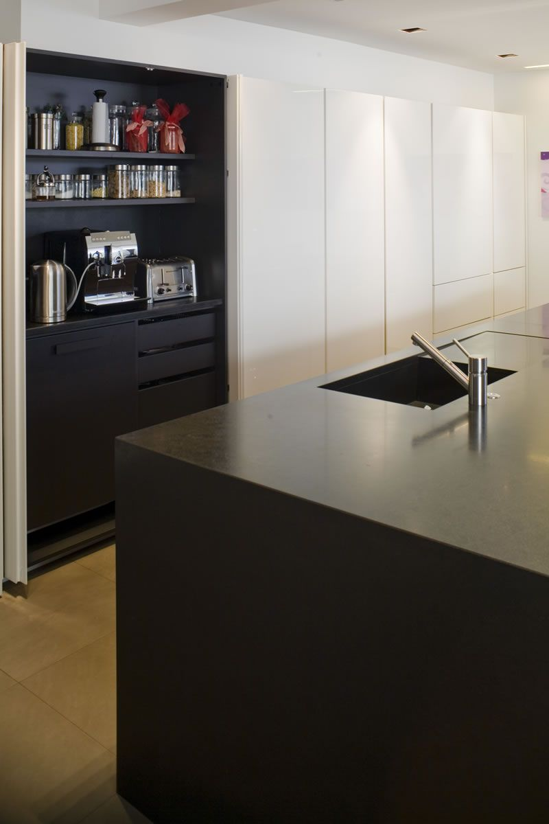 Minotti Cucine Kitchen Double Pocket Door Unit Shown Open