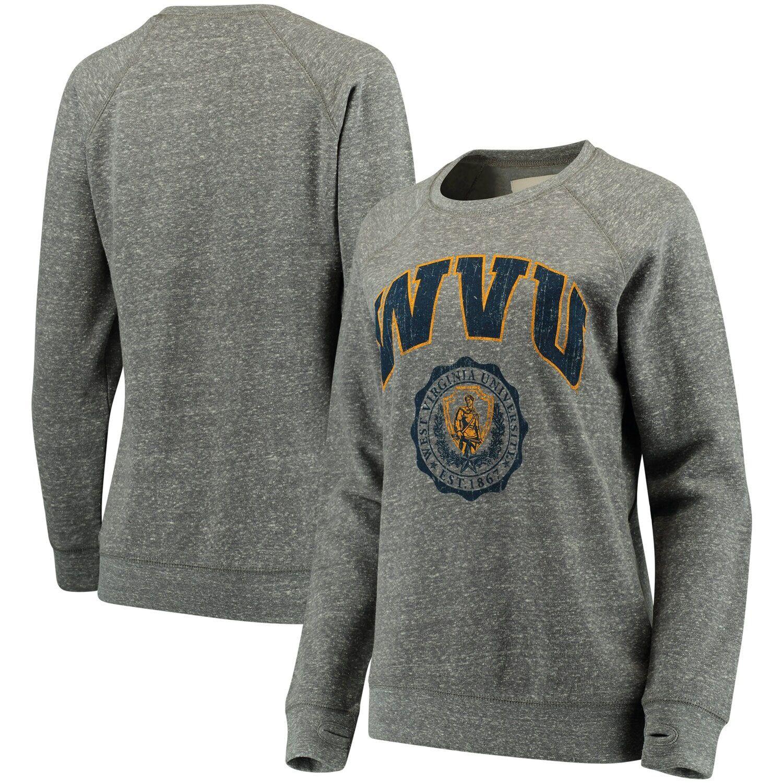 Women's Pressbox Heathered Gray West Virginia Mountaineers Edith Vintage Knobi Pullover Sweatshirt #westvirginia