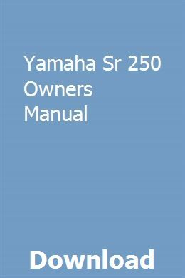 1981 yamaha sr250 yamaha sr250g workshop repair service manual pdf.