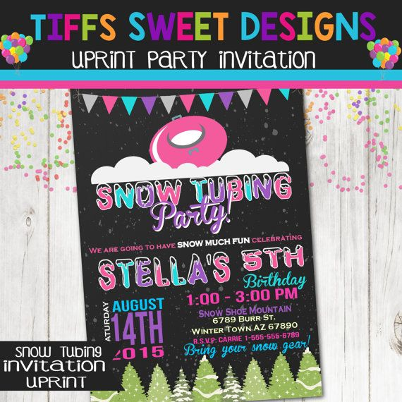 Snow Tubing Birthday Party Invitation By Tiffssweetdesigns Zoes