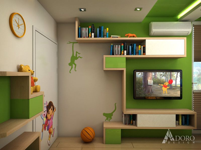 Kids Bedroom With Green And Wood By