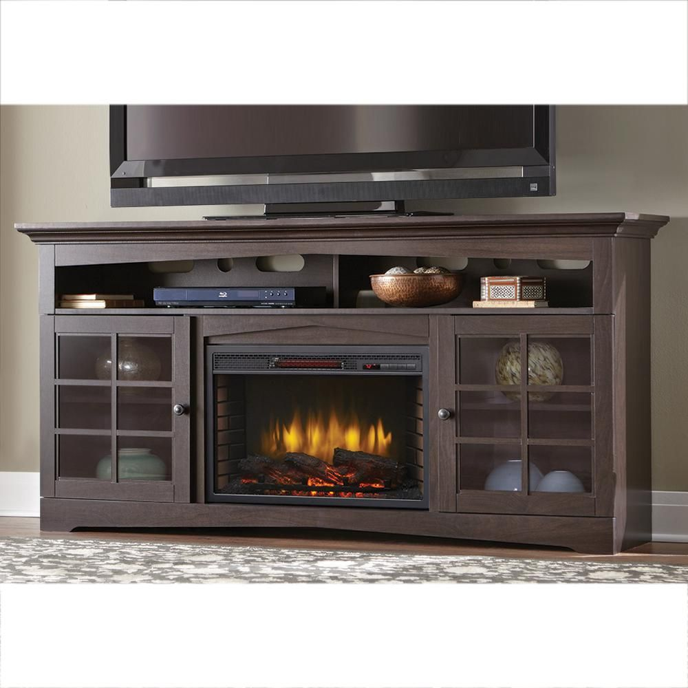 Home Decorators Collection Avondale Grove 70 In Tv Stand Infrared Electric Fireplace In Aged Black 365 187 170 Y The Home Depot Fireplace Tv Stand Electric Fireplace Tv Stand Home