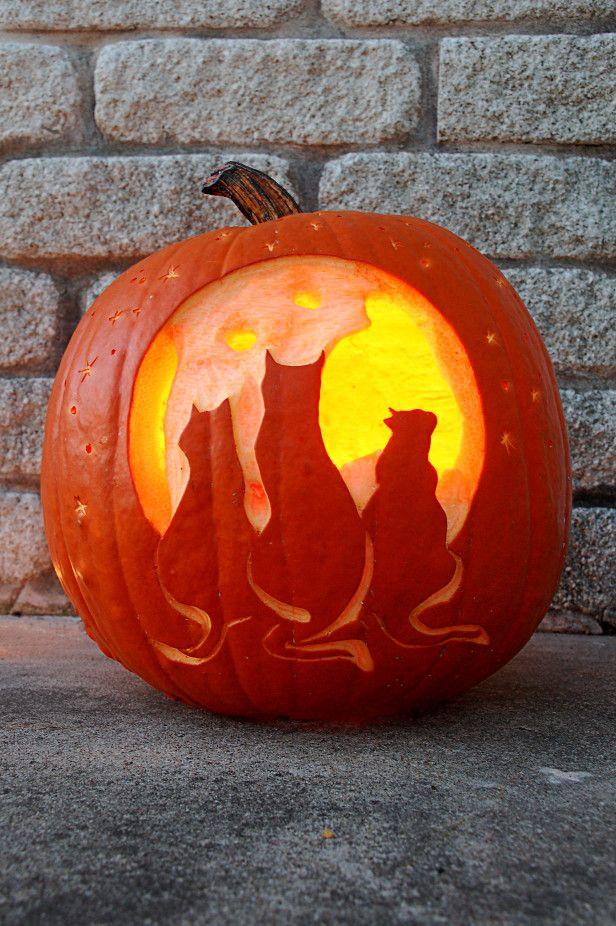 The moon and friends carved halloween pumpkin hello for Fall pumpkin stencils