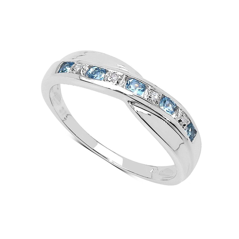 The Blue Topaz Ring Collection: 9ct White Gold Blue Topaz & Diamond Engagement Ring, Ring Size H,I,J,K,L,M,N,O,P,Q,R,S,T,U,V