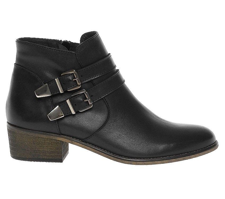 12f78c0e85d Boots cuir petit talon boucle - Boots   bottines - Femme