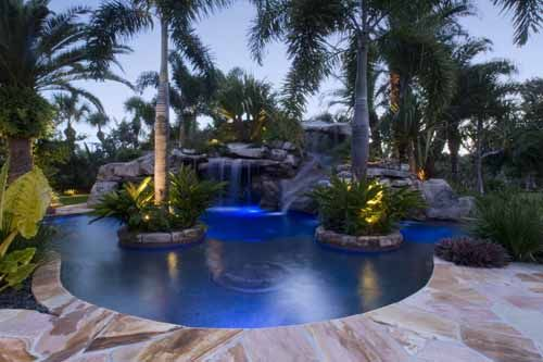 pool lagoon with spa slide and grotto by lucas lagoons in florida