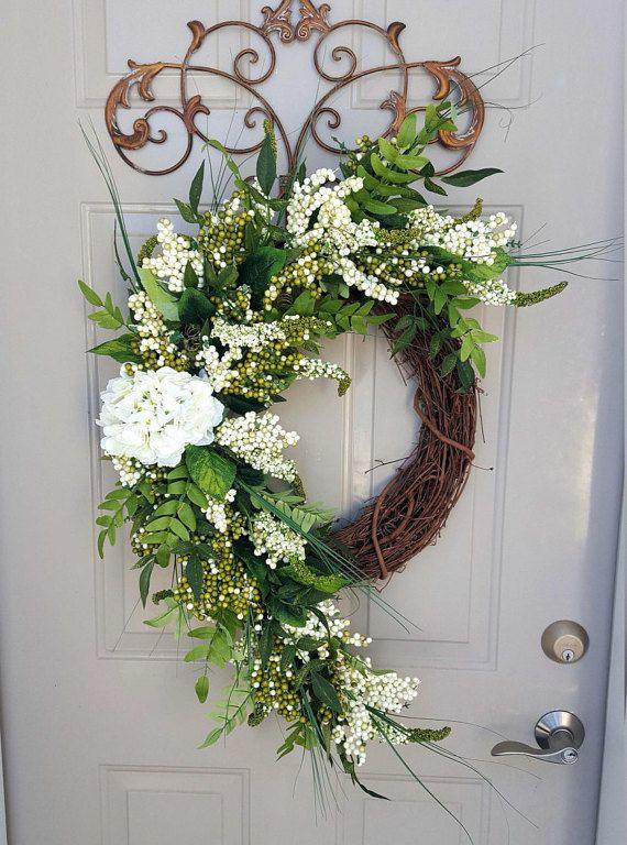 Photo of Items similar to Spring Wreath, Summer Wreath, Hydrangea Wreath, Green Wreath, front door Wreath, Berry Wreath, Door Wreath, Extra large wreath, door decor on Etsy