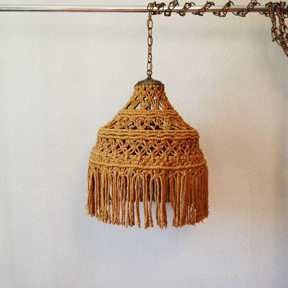 vintage BOHEMIAN chandelier / 1960s MACRAME hanging light ...