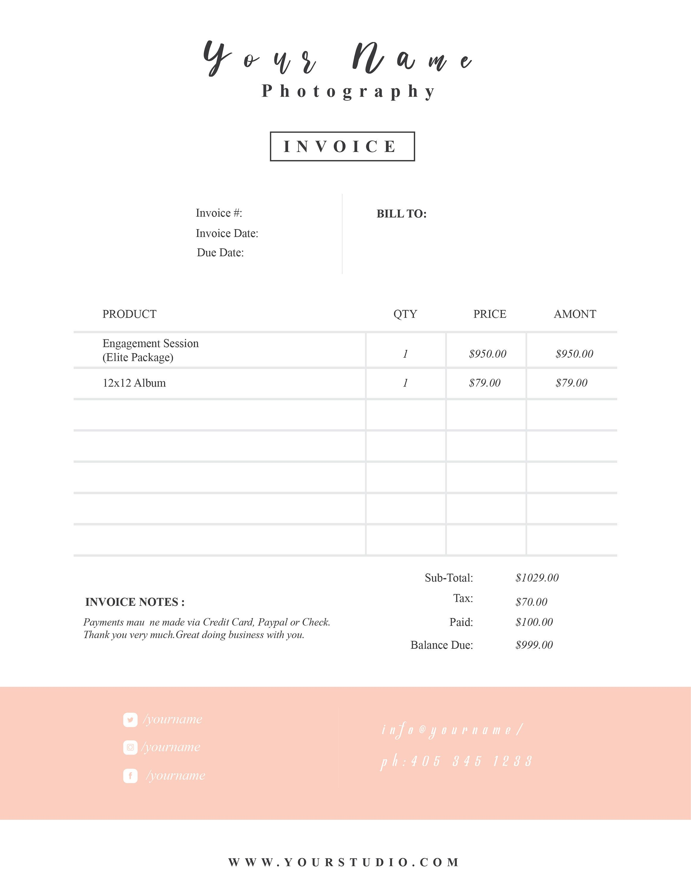 Wedding Photography Invoice Template Price Guide List For Photographers Photography Ph Photography Invoice Invoice Design Template Photography Invoice Template