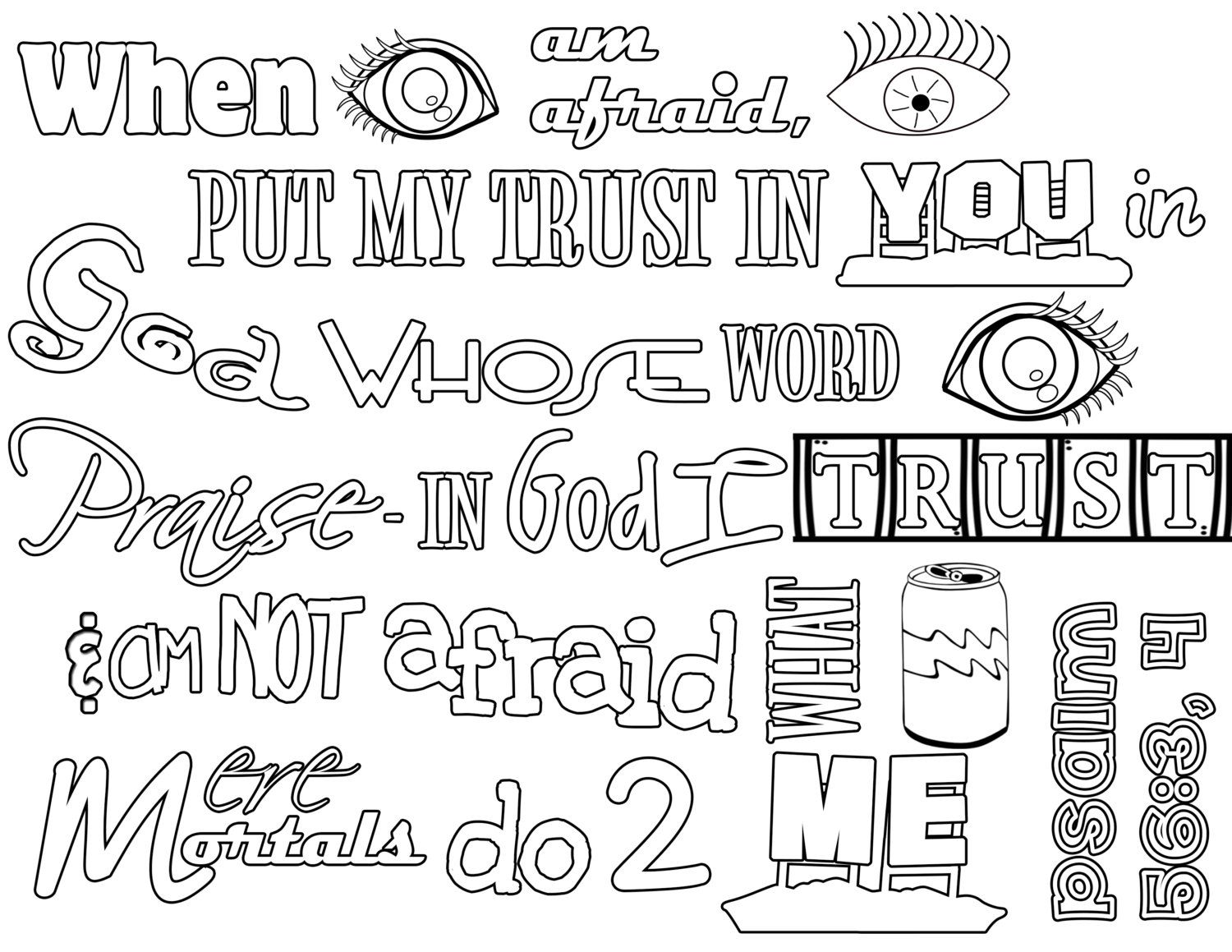 psalms 5634 niv scripture coloring page by homemakersdaily - Psalm 56 3 Coloring Page