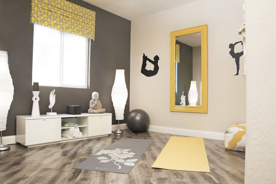 model home design yoga room yellow gray golddiggerinc