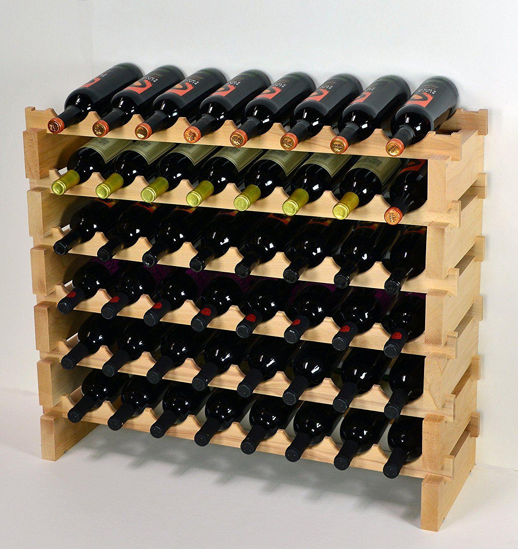 Amazon Com Wine Rack Wood 48 Bottles Modular Hardwood Wine Racks