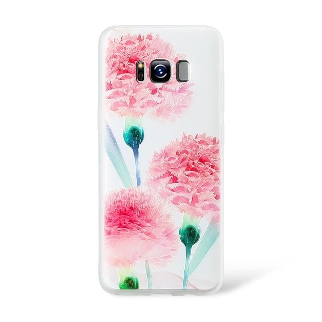KISSCASE Case For Samsung Galaxy A3 A5 A7 2016 2017 A8 Plus 2018 3D Emboss Flower Soft Case For Samsung S8 S9 Plus S7 Edge Cover