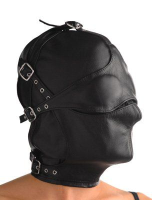 Strict Leather Asylum Leather Hood with Removable Blindfold and Muzzle, Medium/Large