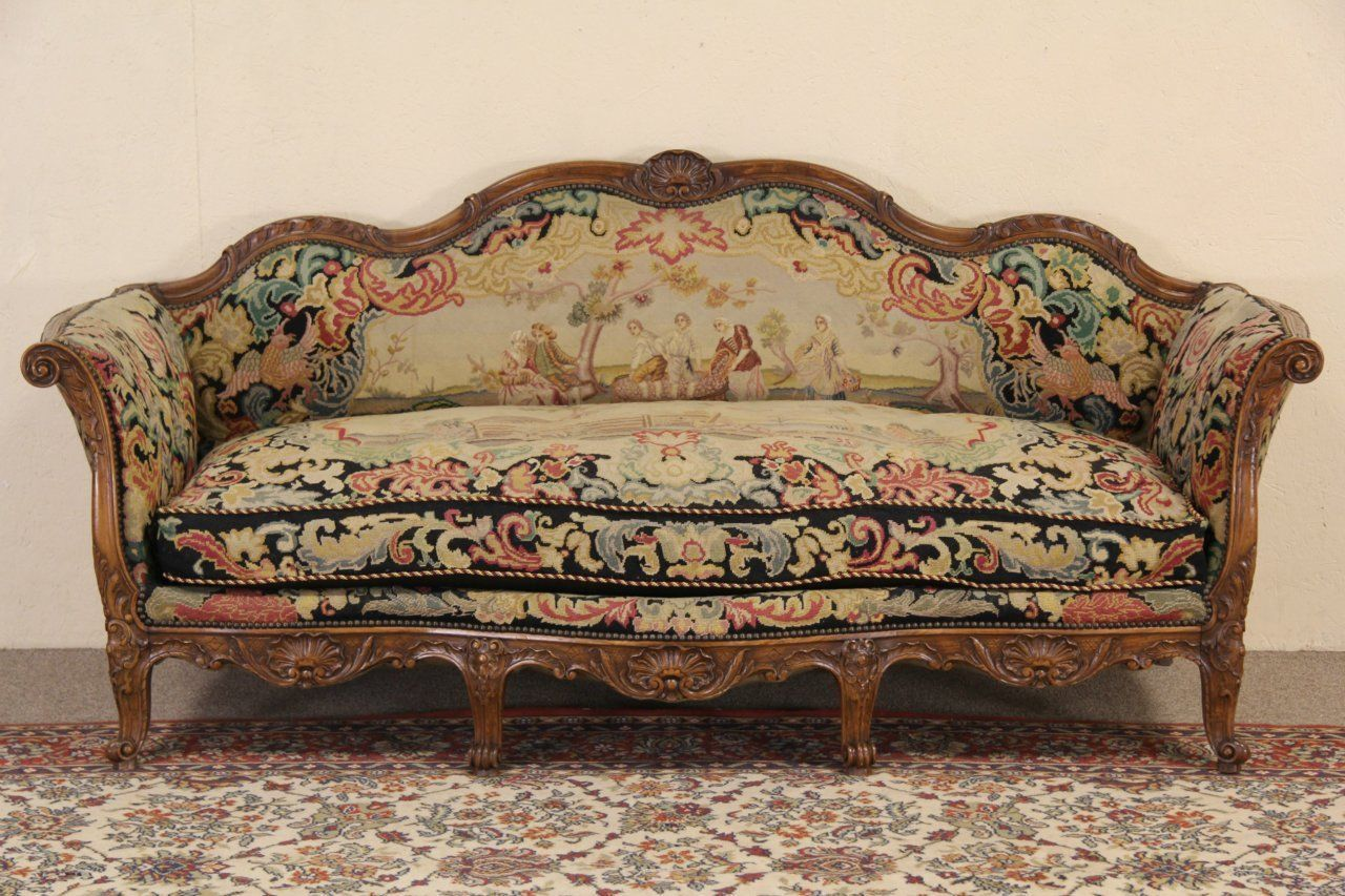 Country French 1900 Antique Needlepoint Sofa