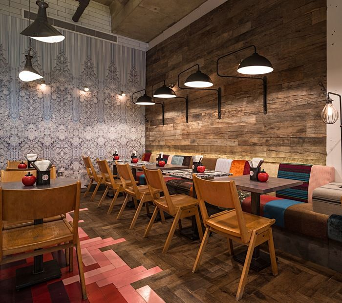 Moreno Masey Architecture + Interiors - GBK Angel, Restaurant Bar Awards, 2014 #MorenoMasey #GBK #Angel #Restaurant #Islington #ResBarDesign #Interior #Design #Wallpaper #Timber #Herringbone #Cladding #Reclaimed #Chairs #Banquette #Patchwork #Pendant #Lights