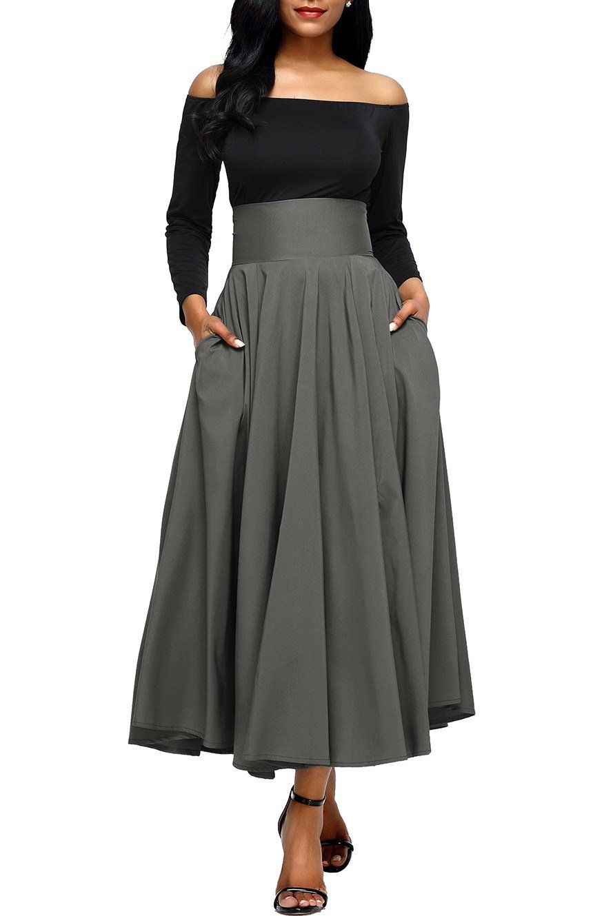 566c8d13b0665 Gray Retro High Waist Pleated Belted Maxi Skirt, Shop for cheap Gray Retro  High Waist Pleated Belted Maxi Skirt online? Buy at ModeShe.com on sale!