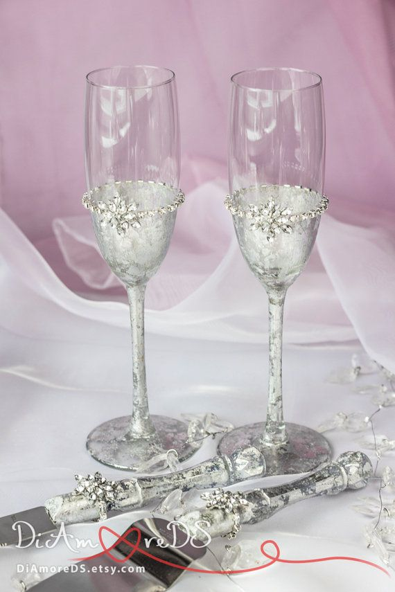 Snowflake Champagne Flutes Winter Wedding Toasting Glasses, Silver ...