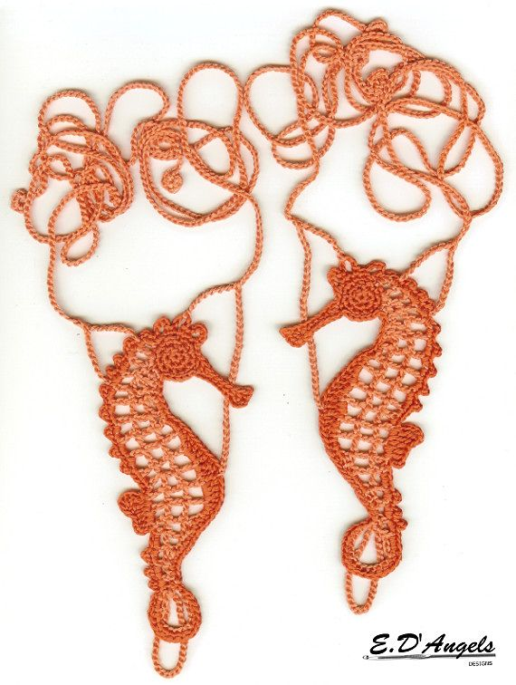 Barefoot Sandals Seahorse pattern by Elaine D\'Angels | Pies ...