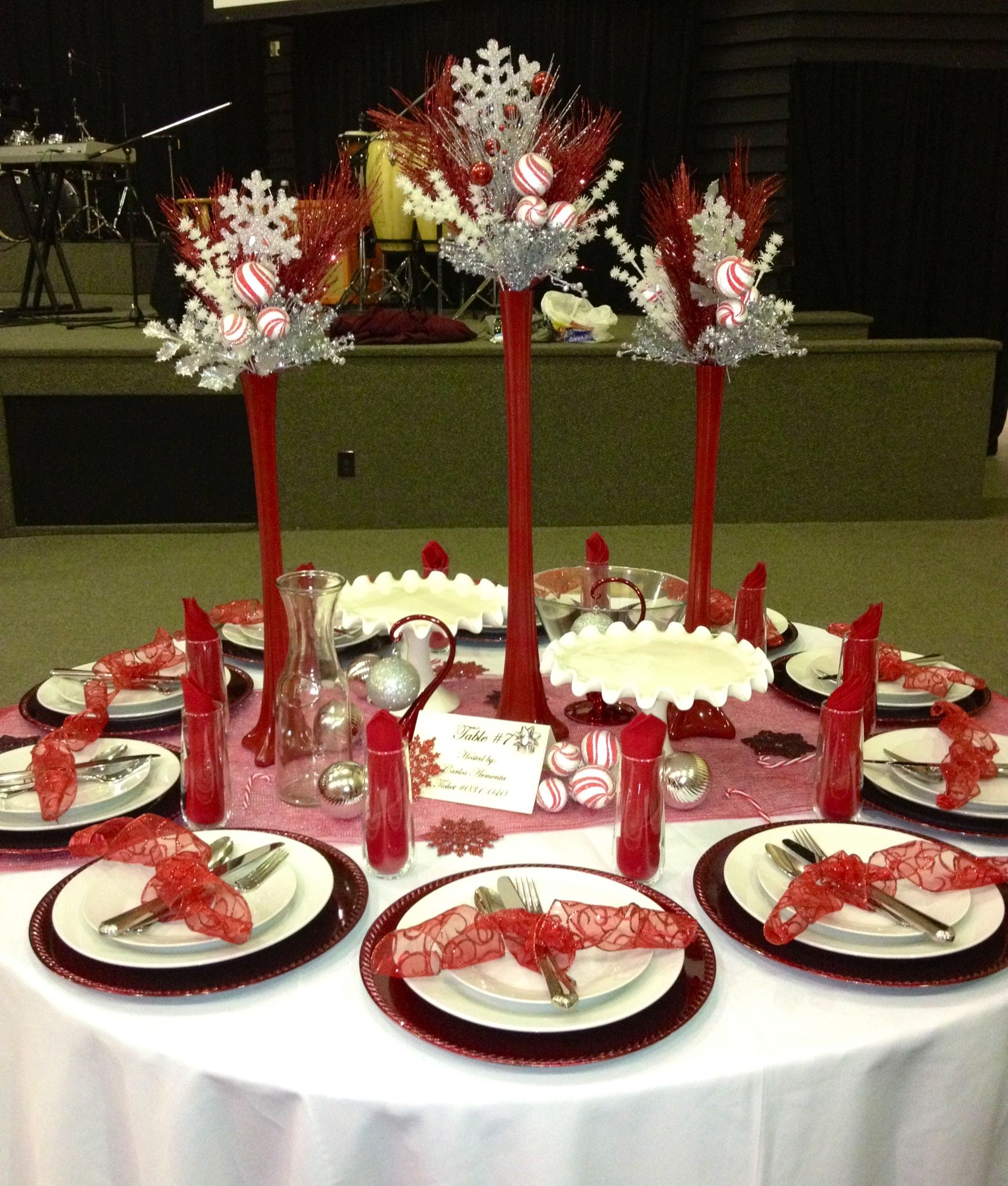 red and silver table decorations. Red White And Silver Christmas Table Decor Decorations T