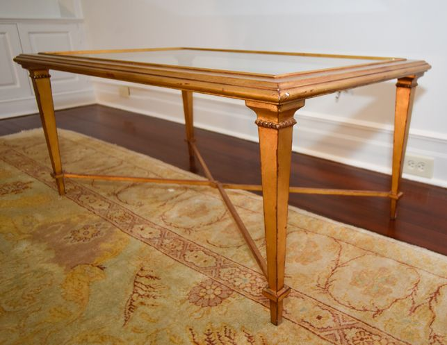 Gilt Wood and Glass Cocktail Table with X-Base | The  Local Vault