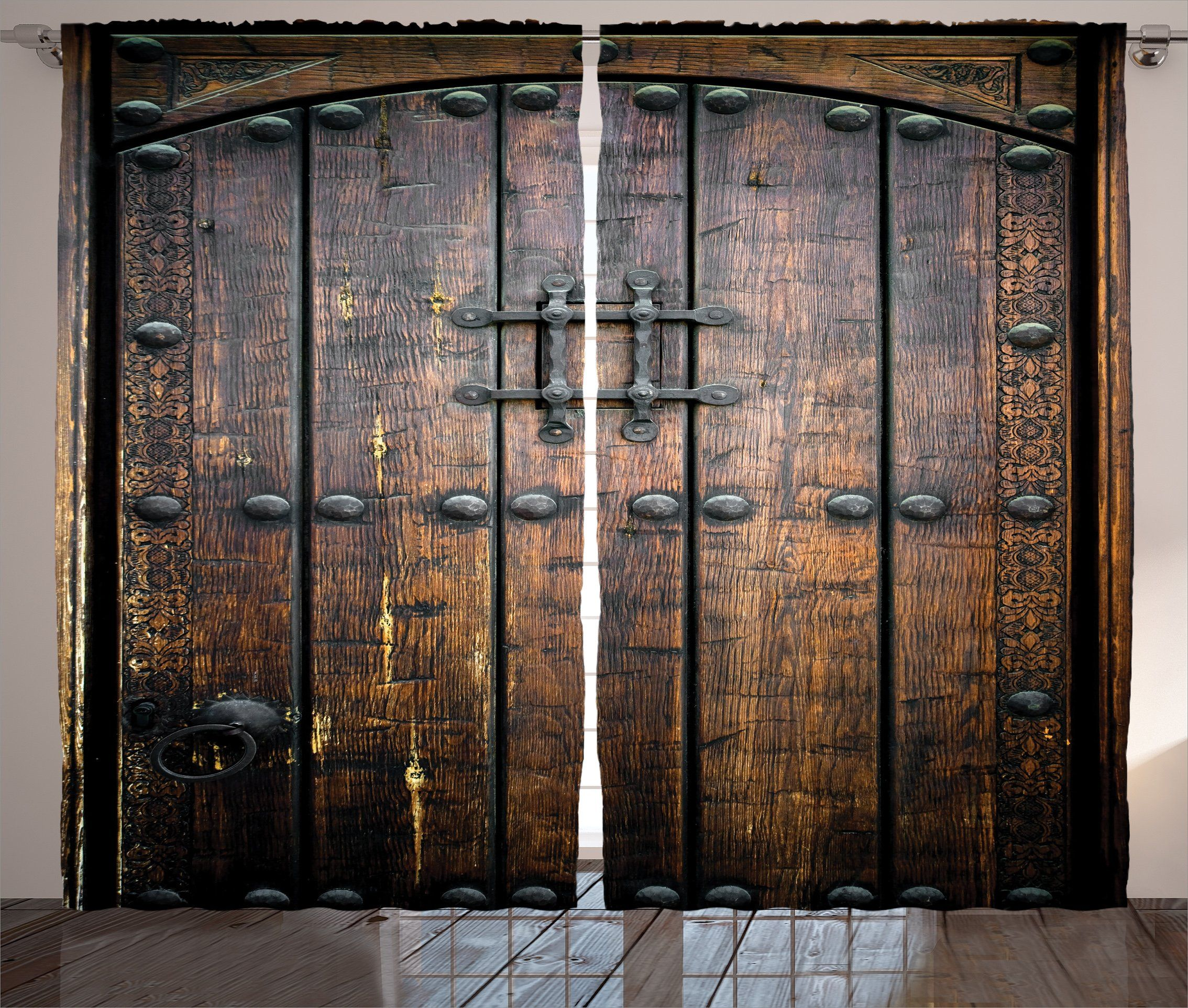 Ambesonne Rustic Decor Collection Ancient Wooden Door Historical Vintage Exterior Medieval Structure Artis Bathroom Decor Sets Rustic Tapestries Medieval Decor