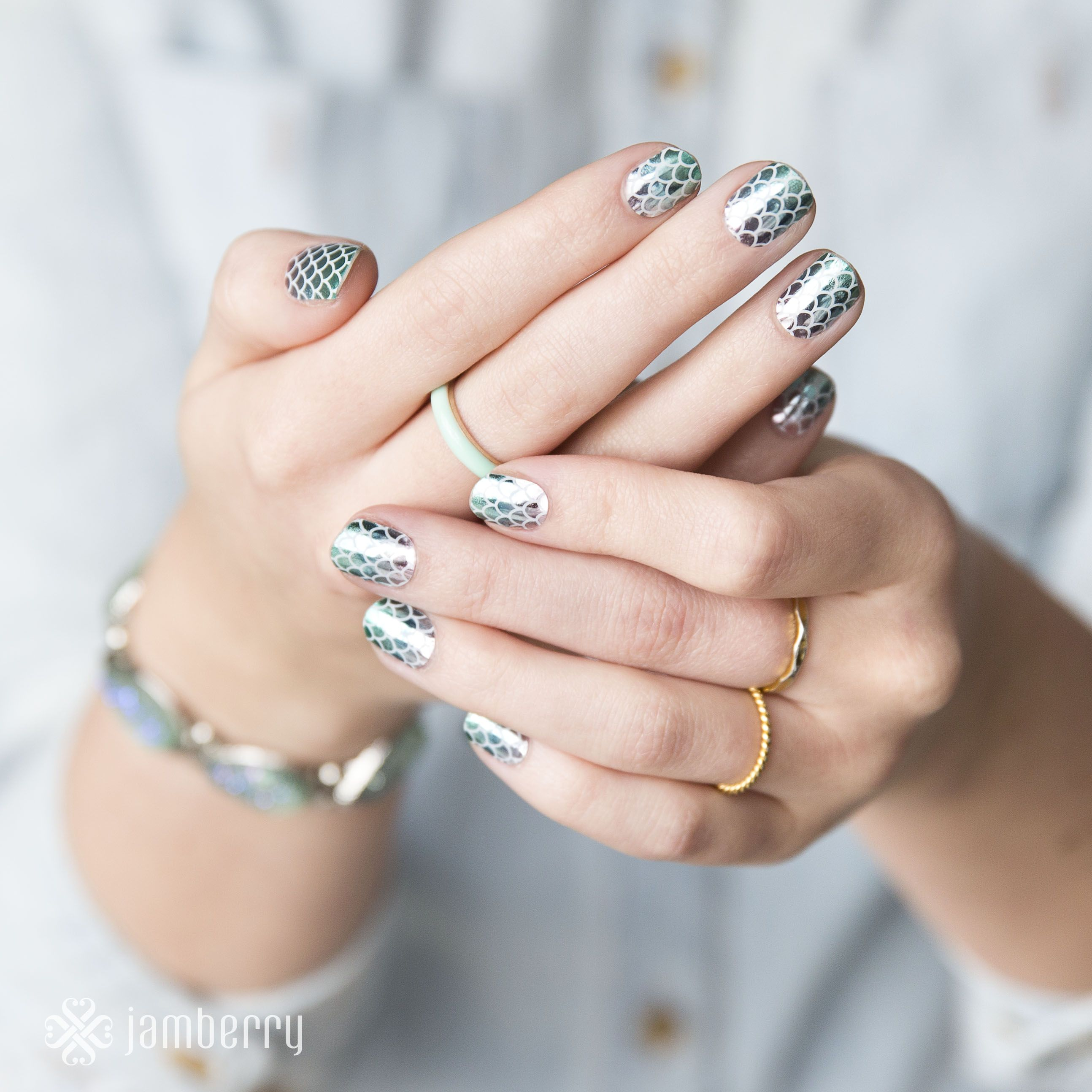 One of my personal favourites - these apply yourself at home nail wraps (with a hairdryer!) are metallic shiny mermaid scales - so beautiful! Design - Mermaid Tales