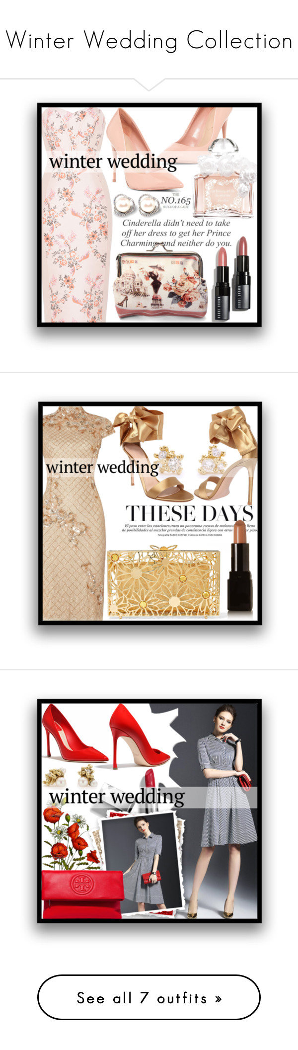 """Winter Wedding Collection"" by mistressofdarkness on Polyvore featuring STELLA McCARTNEY, ALDO, Guerlain, Bobbi Brown Cosmetics, Adrianna Papell, Ruth Tomlinson, Gianvito Rossi, Charlotte Olympia, Illamasqua and Burberry"