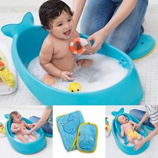 This adorable whale 3 stage bath tub & towel set arrived today ...