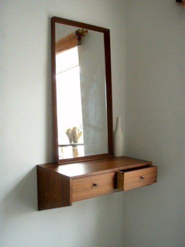 Danish Modern Mirrored Vanity 375 Modern Apartment Design Small Space Diy Shelves