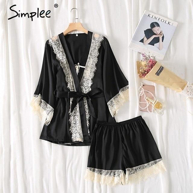 ae83794fbc Simplee Sexy lace silk plus size pajamas set sleepwear women Three piece  shorts suit Padded strap top robe femme ladies pajamas