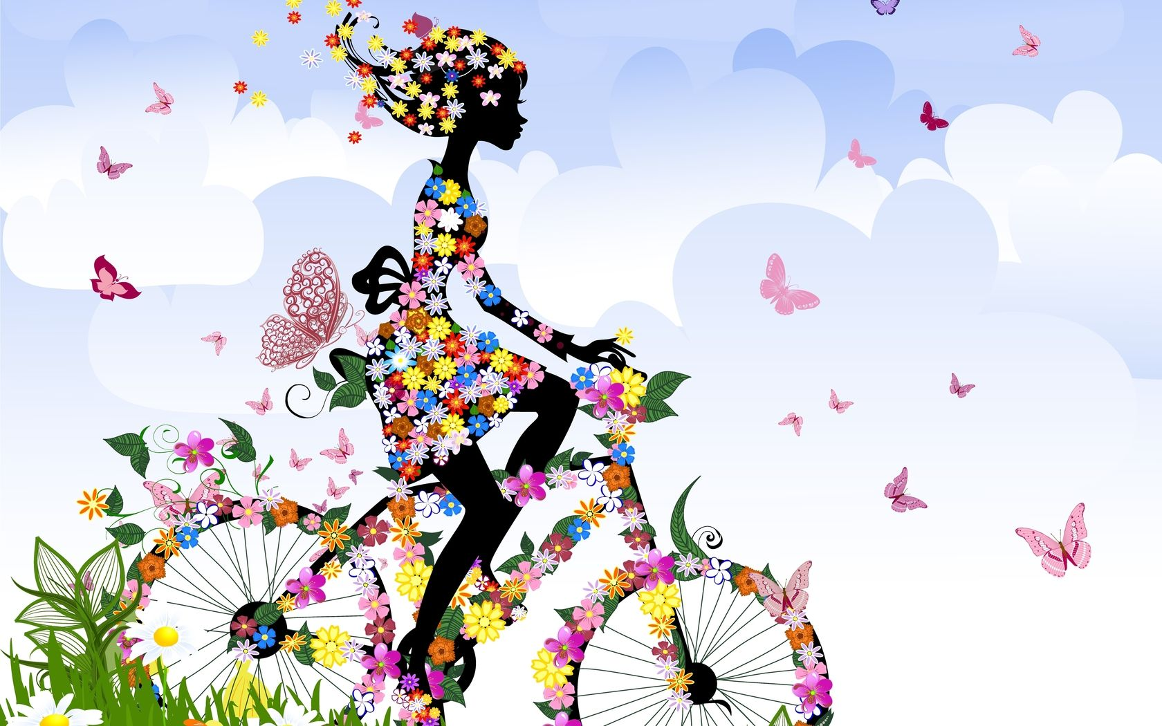 A Silhouette Of A Girl On A Bicycle Riding Through A Field Covered